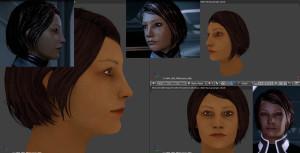 Kate Shepard ME2-comparaison ingame/blender